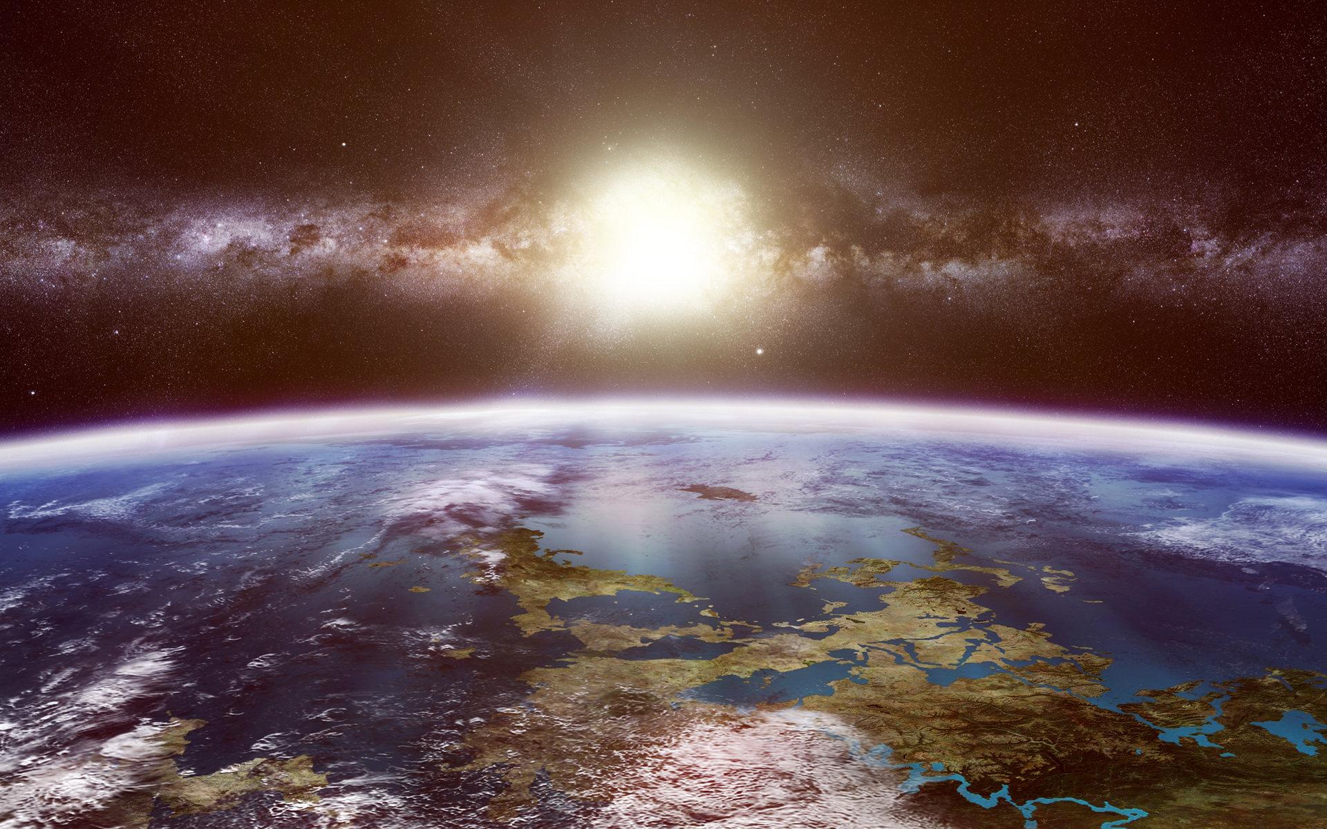 Обои Восход на орбите картинки на рабочий стол на тему Космос - скачать  № 1761559  скачать