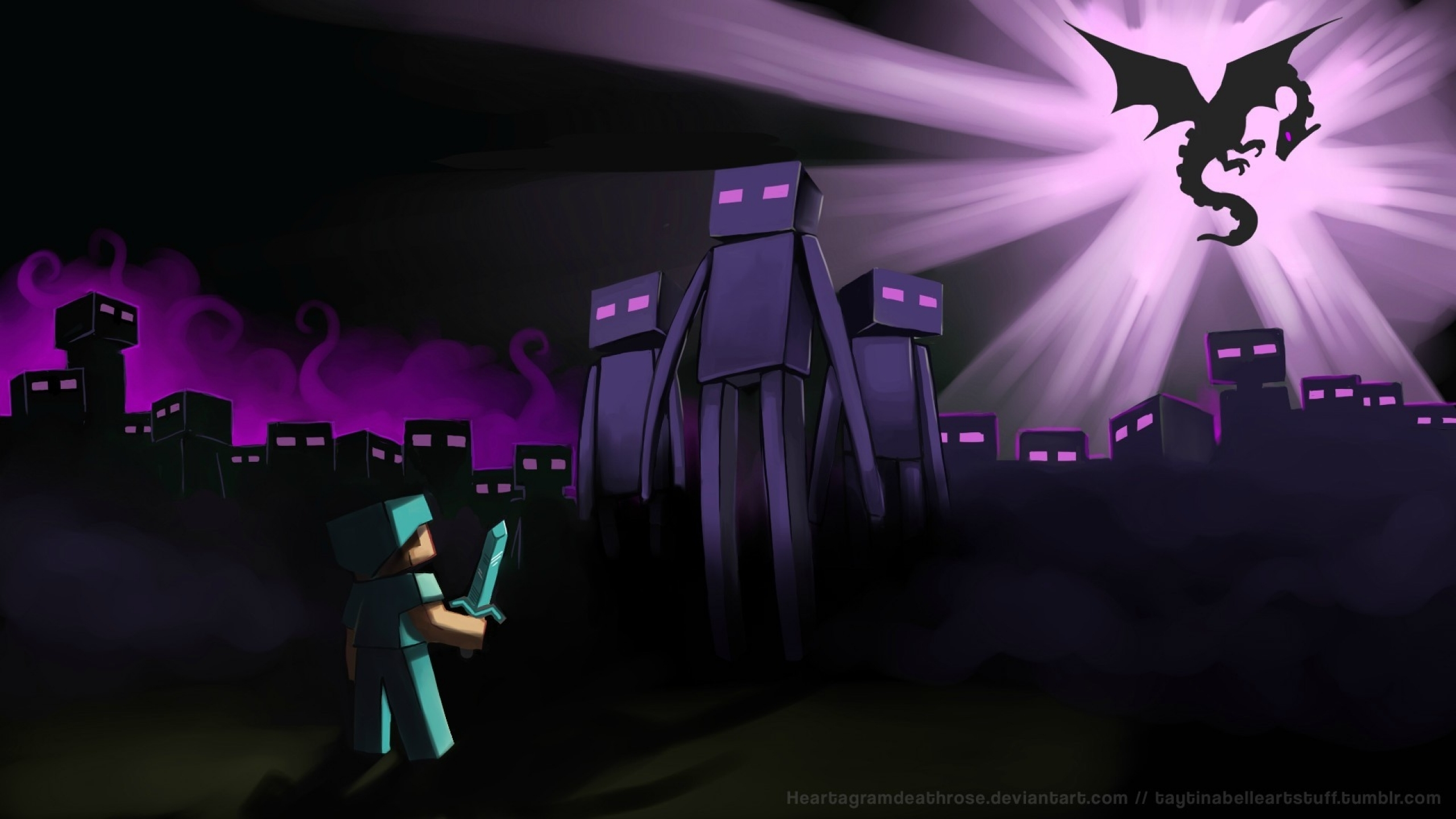 Free Download Minecraft Artwork Enderman Endermen 1920x1080
