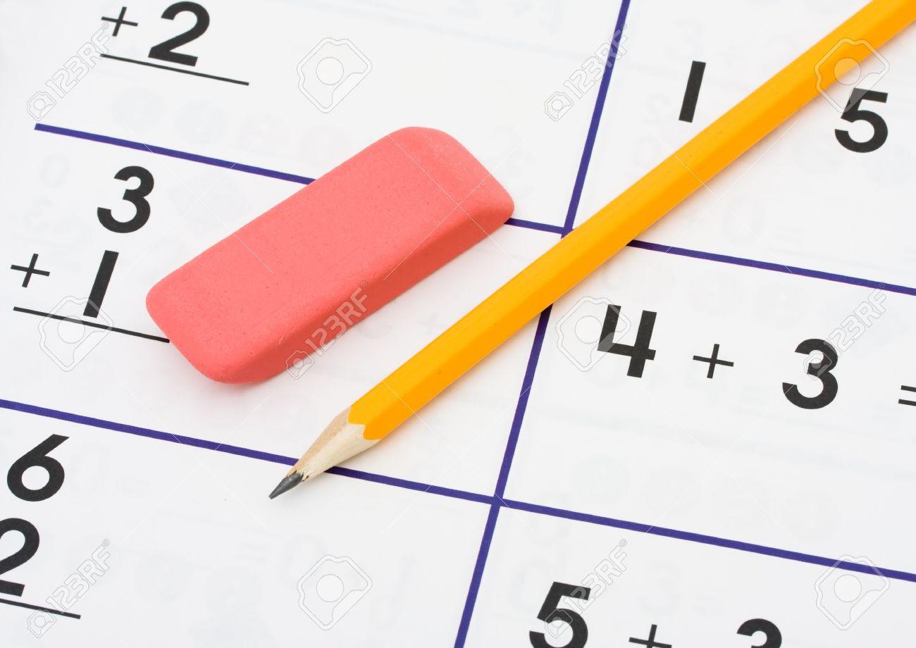 A Pencil And An Eraser On A Math Sheet Background Math Homework 1300x920
