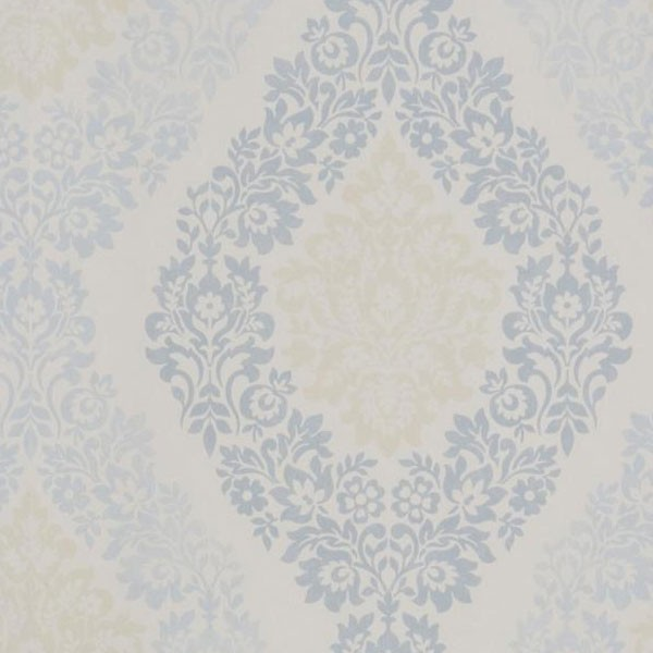 Coral Soft Damask Wallpaper White Blue Cream by GranDeco Galerie 600x600