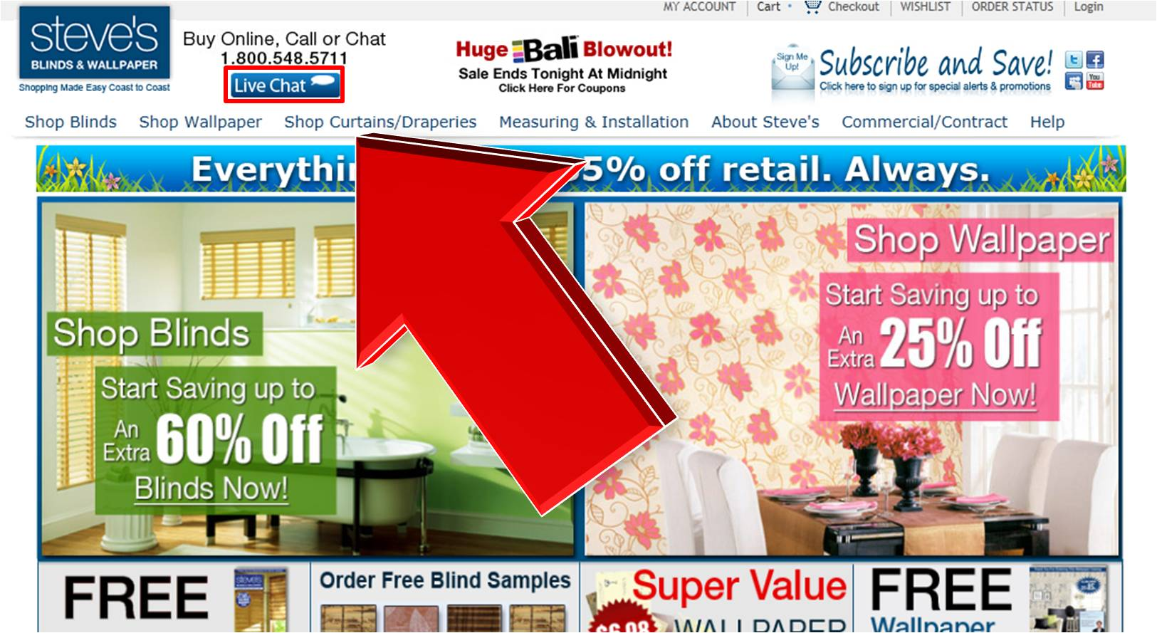 Steves Blinds and Wallpaper Live Chat Services 1625x889