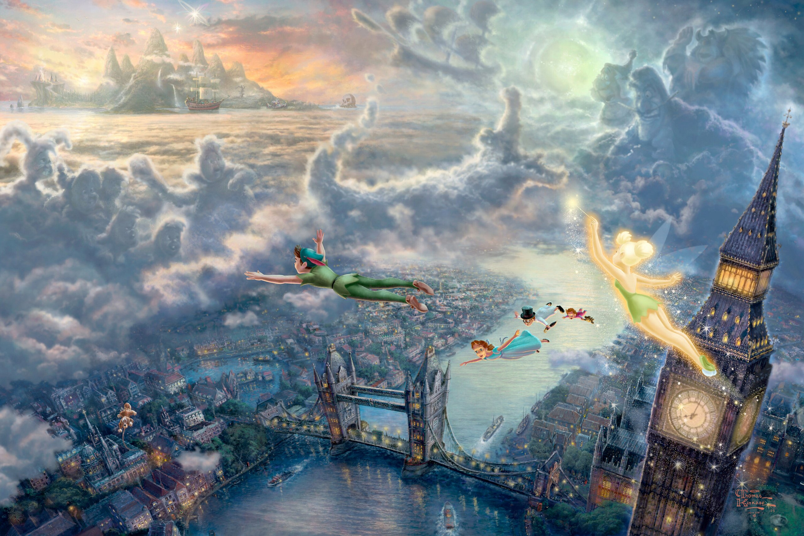 Thomas Kinkades Disney Paintings   Peter Pan   Walt Disney Characters 2560x1707
