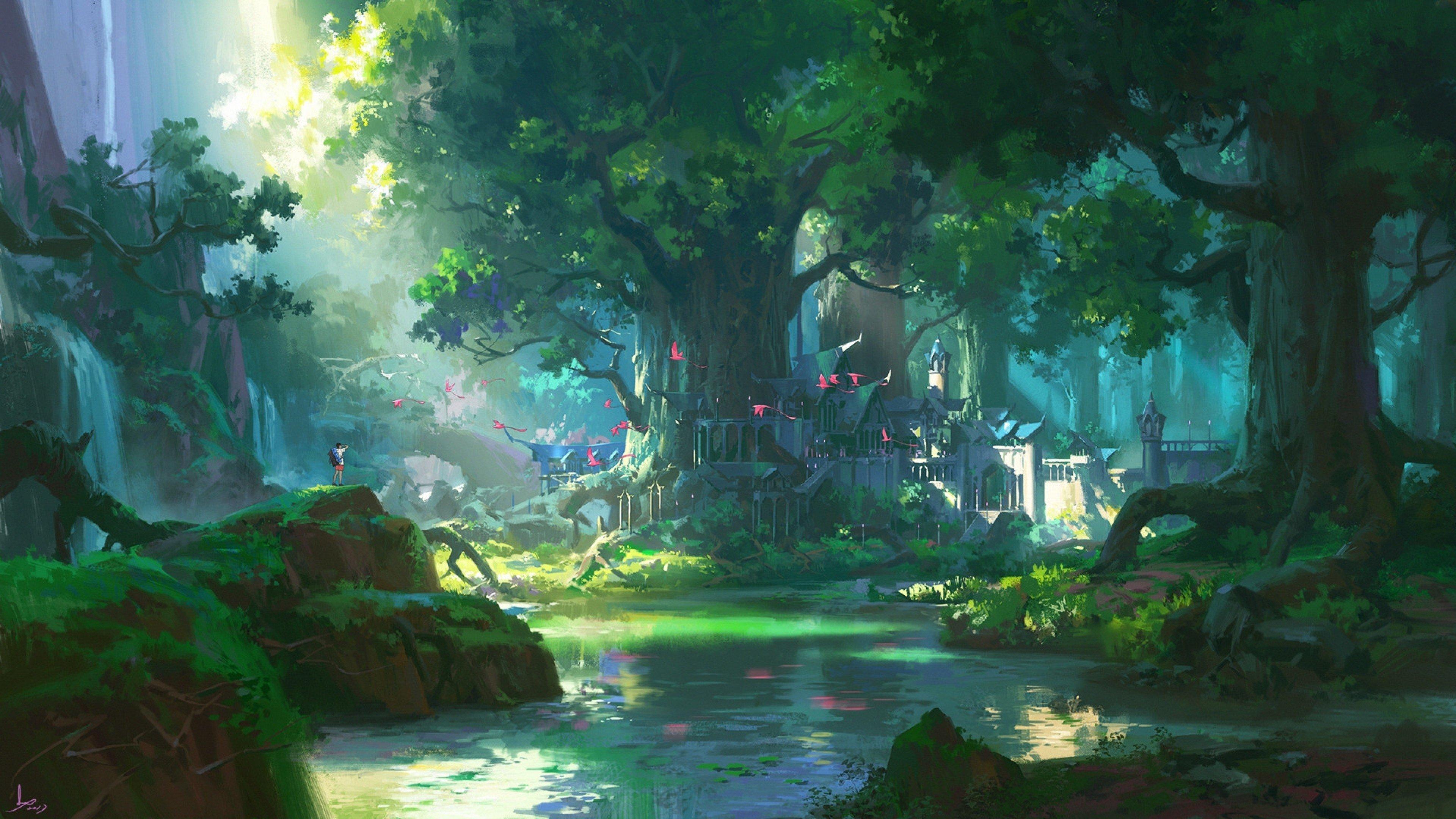 Anime Forest Scenery 4K wallpaper 3840x2160