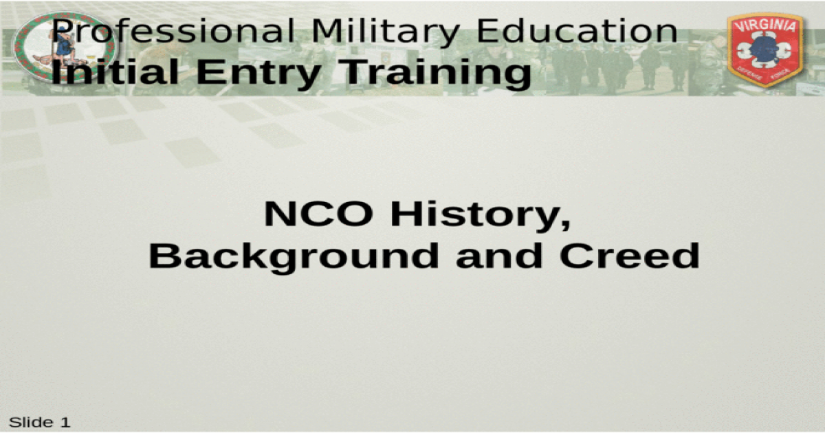 NCO History Background and Creed   [PPTX Powerpoint] 1200x630