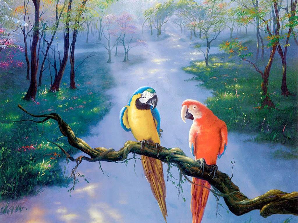 Parrot Beautiful Art Painting hd Wallpaper HD Wallpaper 1024x768