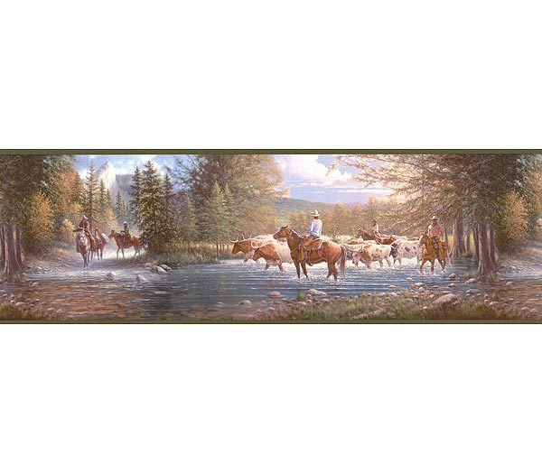 Western Horses Wallpaper Border 600x525