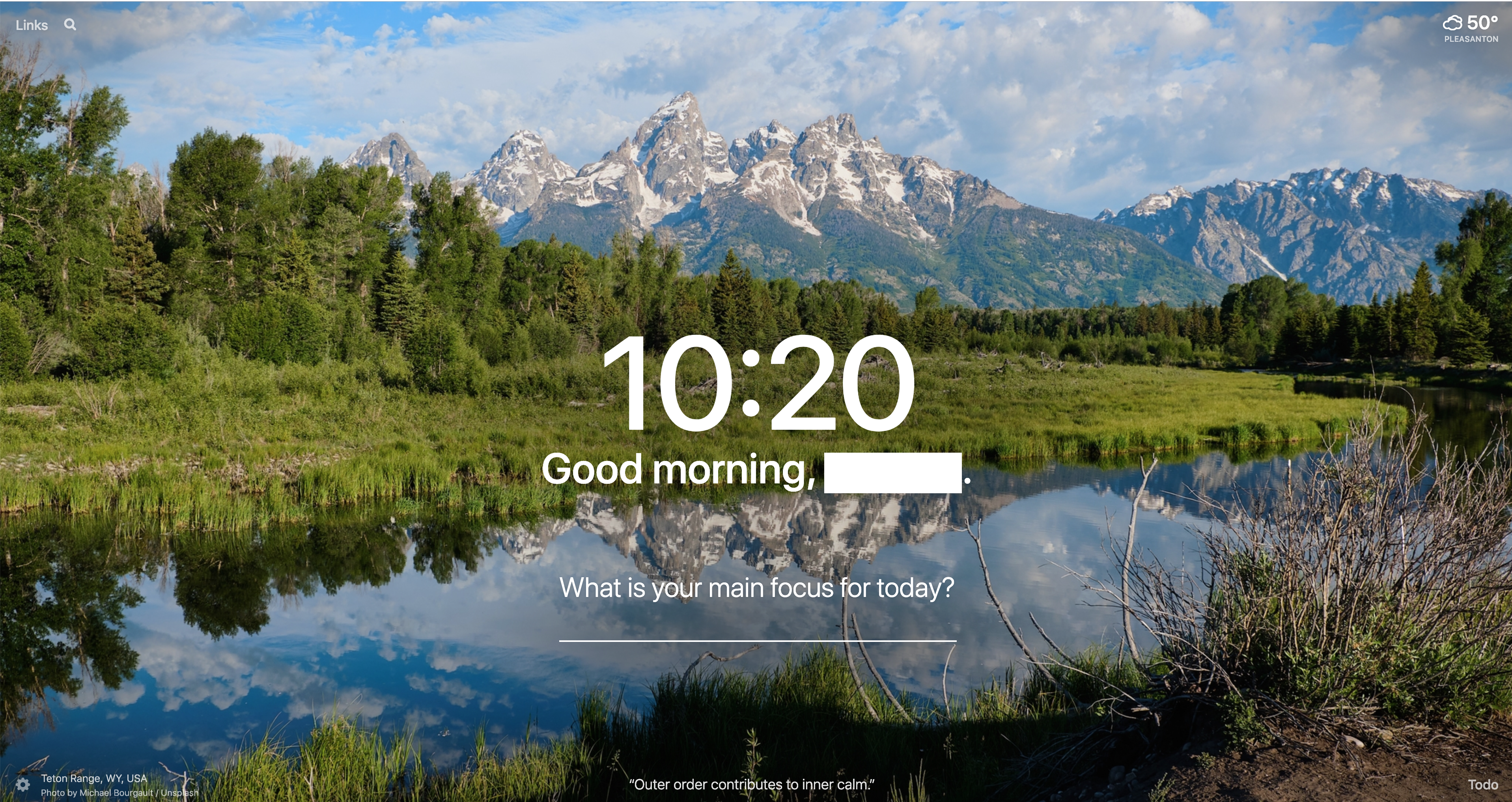 I use a chrome extension called momentum and it generates 3834x2034