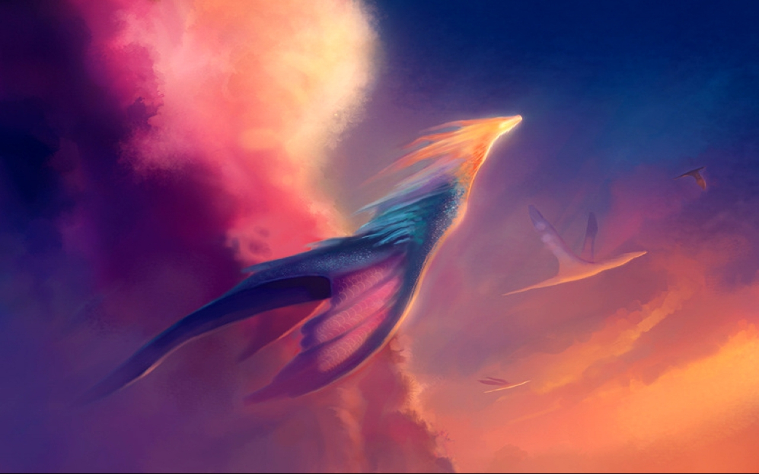 Wallpaper art neo clouds light sun flying dragons wallpapers 2560x1600