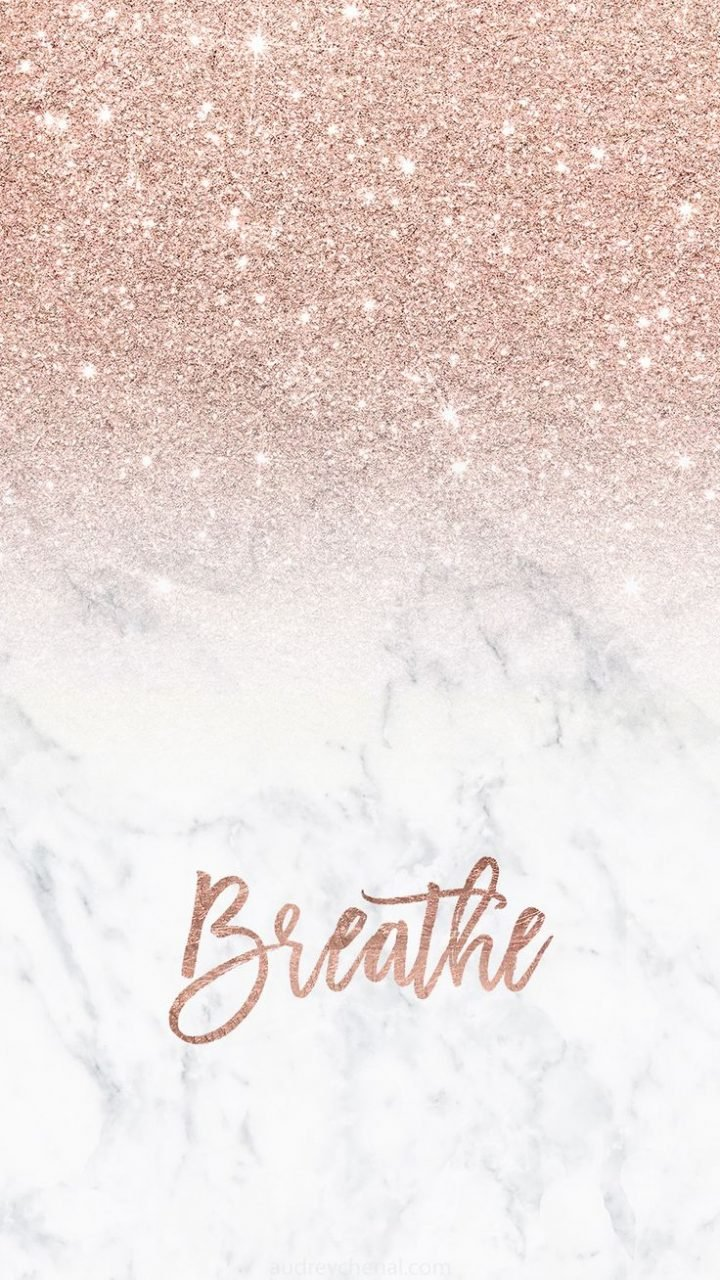 Free Download Rose Gold Glitter Ombre White Marble Breathe