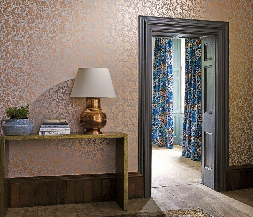 British Isles Damask Wallpaper in Silver from the Manarola 884x760