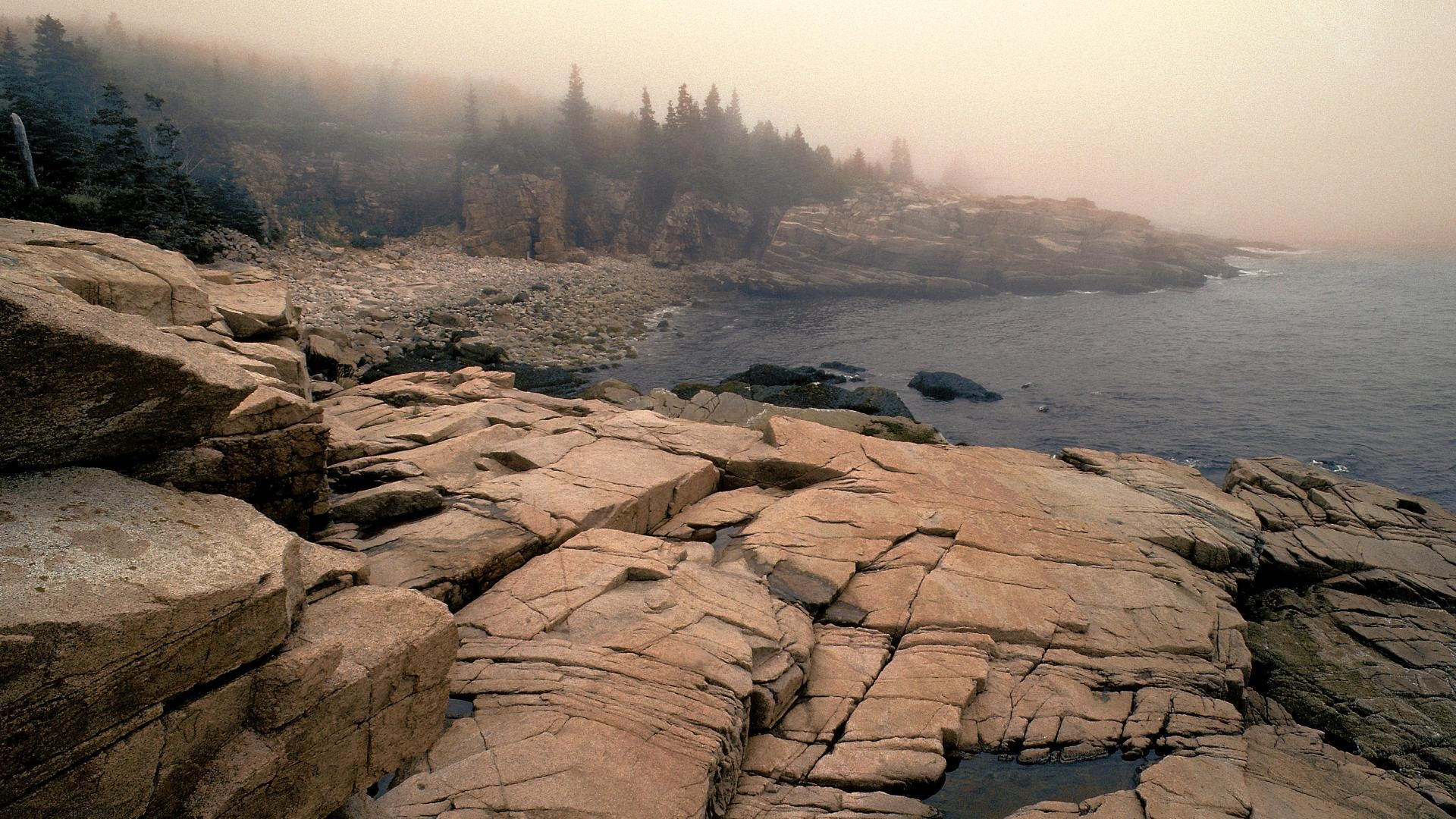Fog Laden Acadia National Park Maine HD Wallpaper   Creative Pics 1920x1080