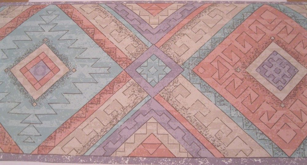 Wallpaper Border Geometric Blue Teal Purple Beige Southwestern Wall 1000x536