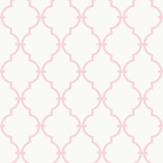 Pink and White Modern Trellis Wallpaper   RosenberryRoomscom 650x650