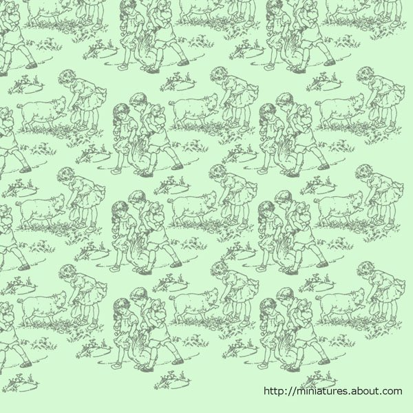 Printable Dolls House Nursery Wallpaper and Border with Farm 600x600