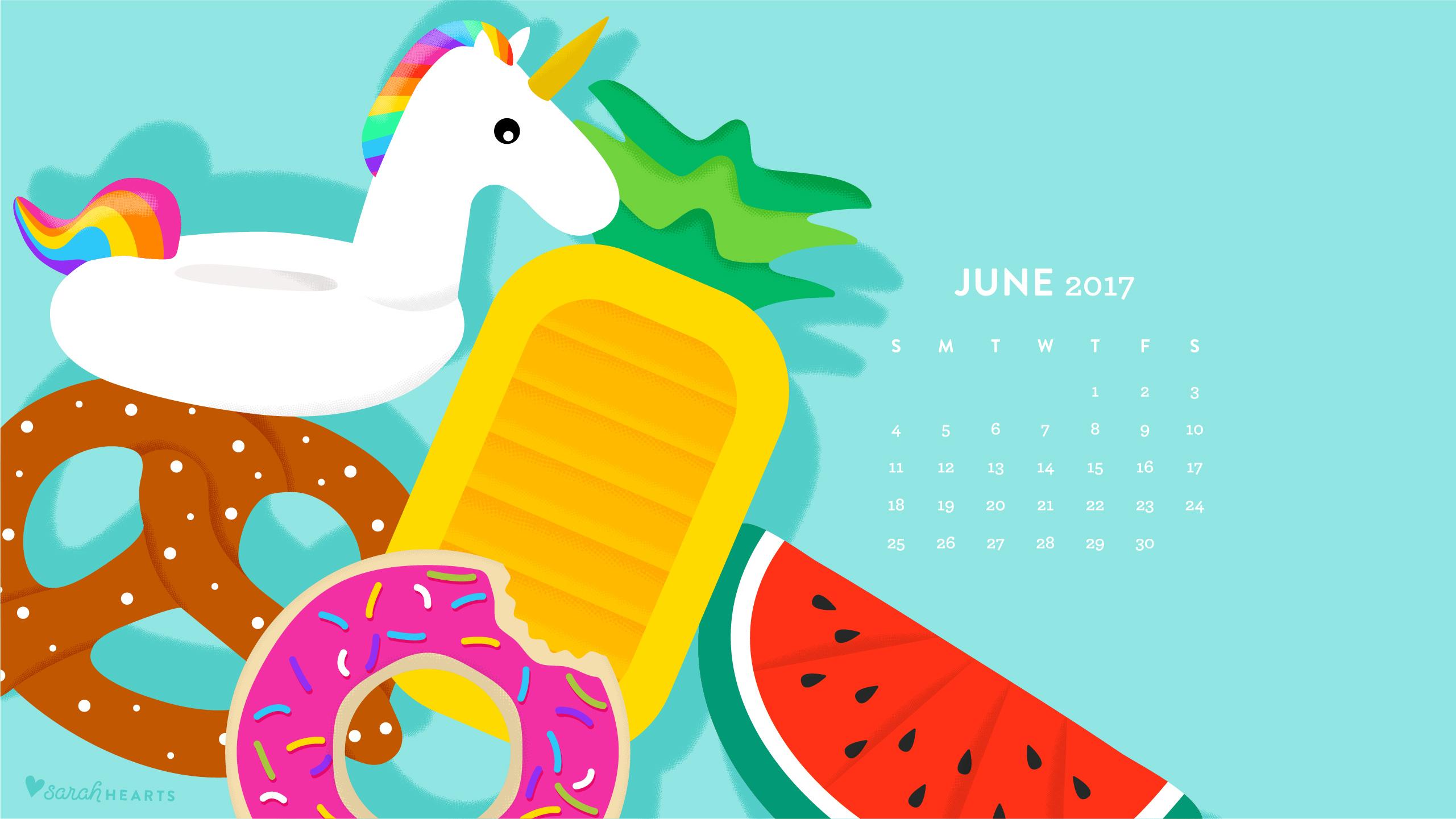 June 2017 Pool Float Calendar Wallpaper   Sarah Hearts 2561x1441