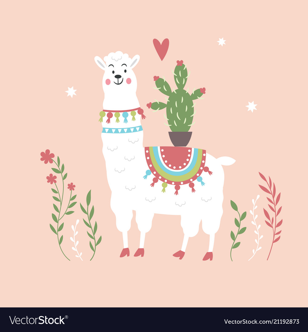 Cute llama with cactus on pink background Vector Image 1000x1080