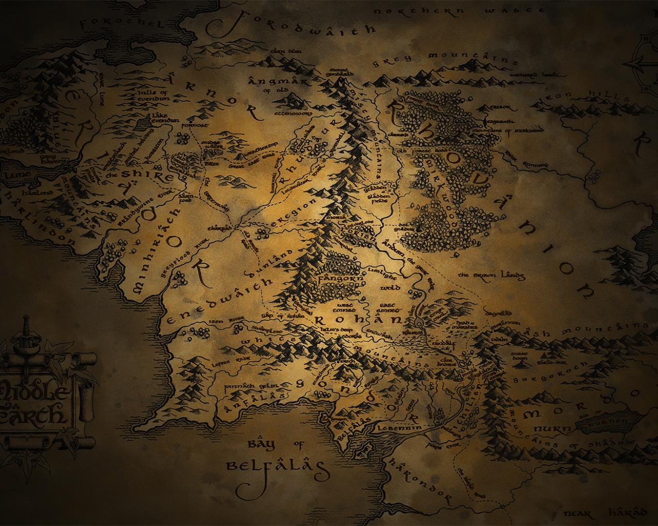 the lord of rings maps middle earth QFjr 1280x1024