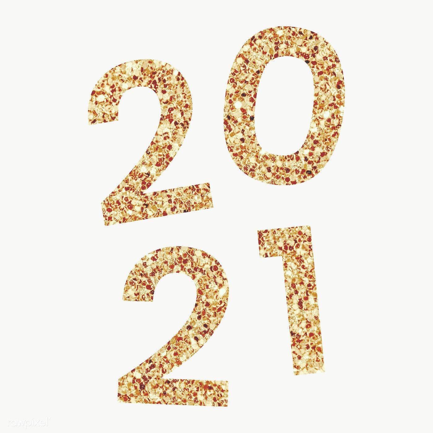 Festive golden shimmering 2021 transparent png image by 1400x1400