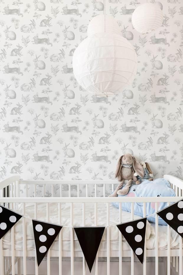 KI0580 Bunny Toile Wallpaper   GrayWhite US Wall Decor 620x930