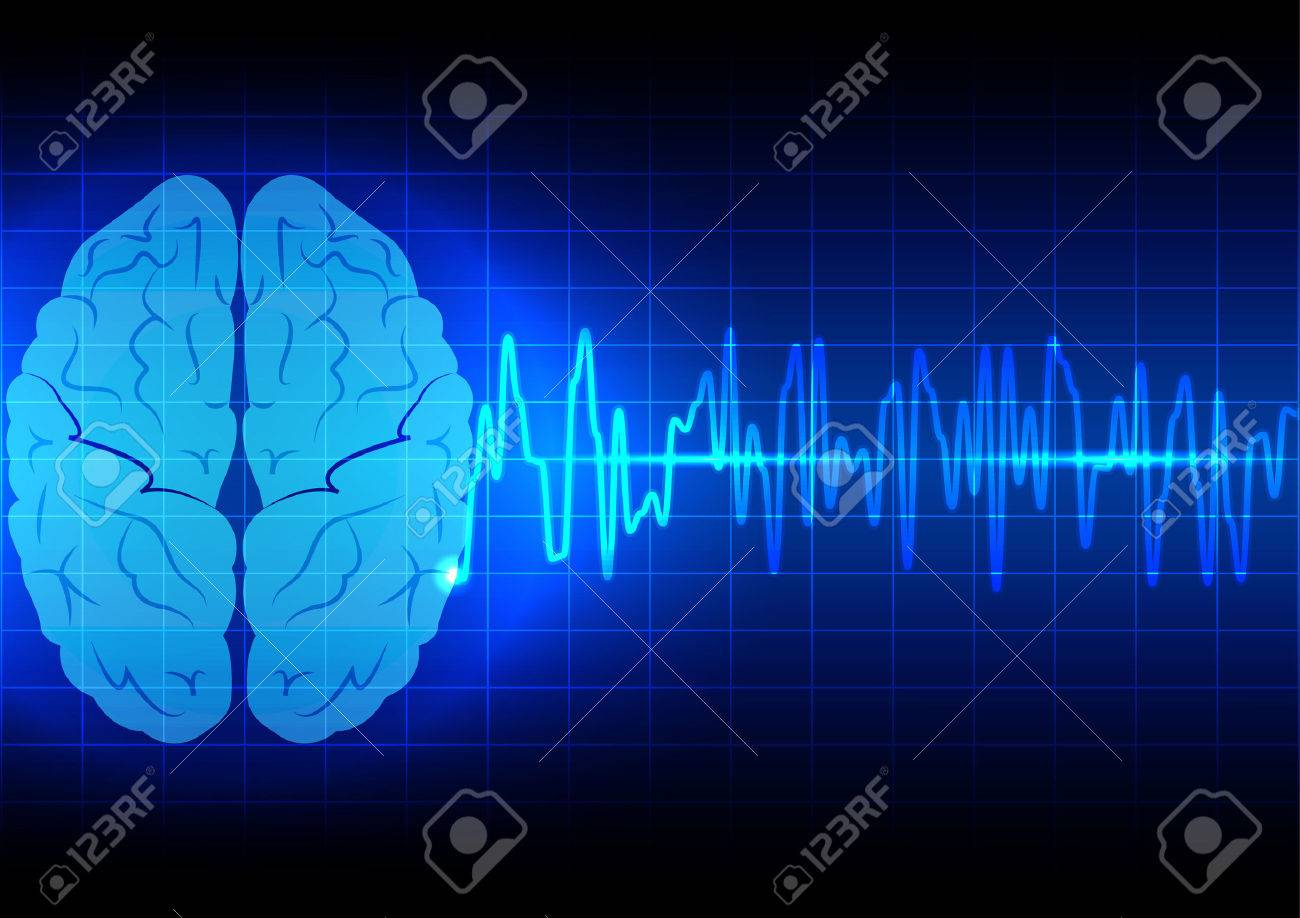 Abstract Brain Wave Concept On Blue Background Technology Royalty 1300x918
