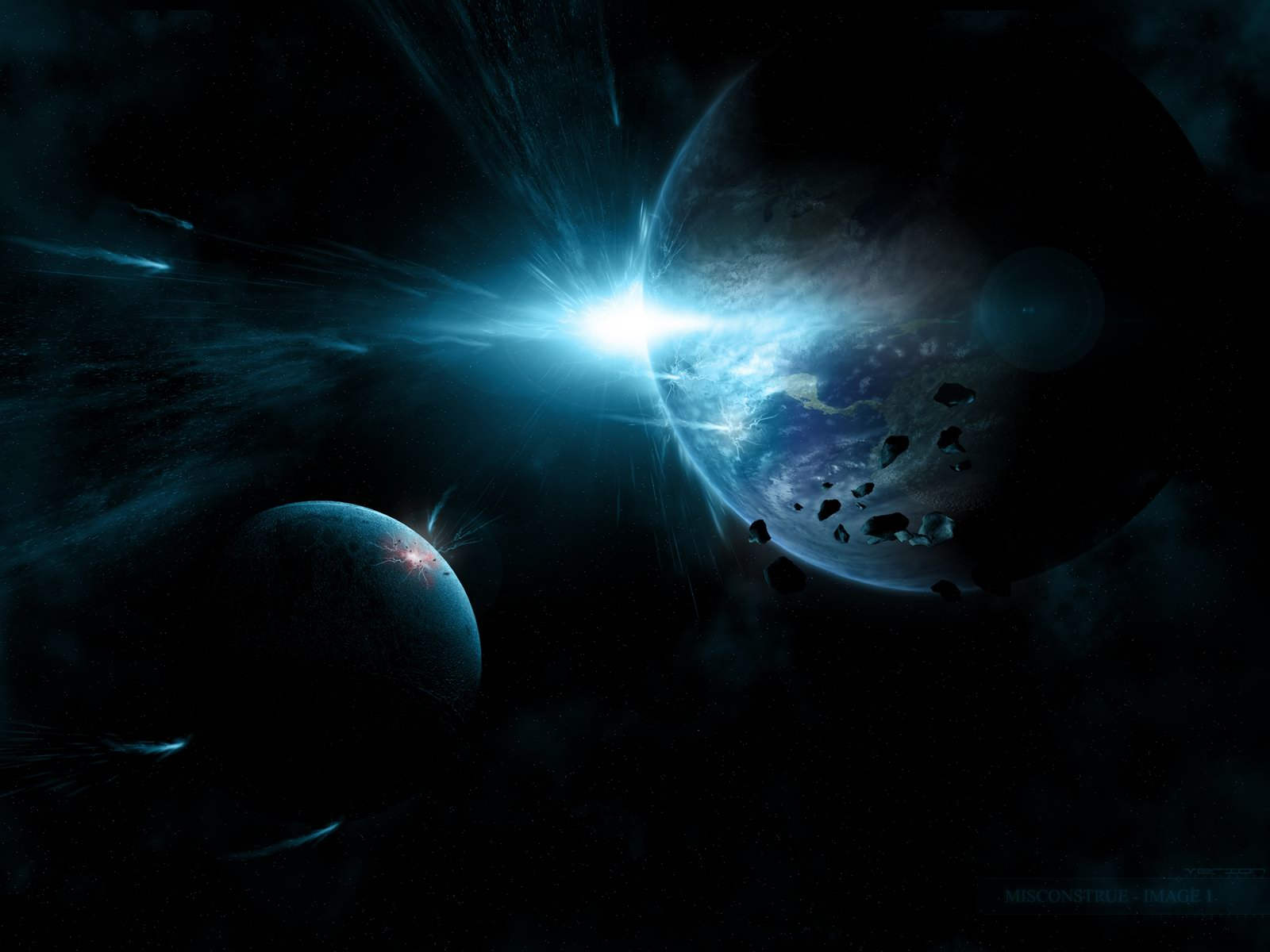 Download deep blue space scene HD wallpaper 1600x1200