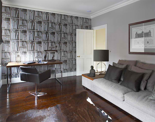 Stunning Wallpapers in 20 Home Office and Study Spaces 600x473