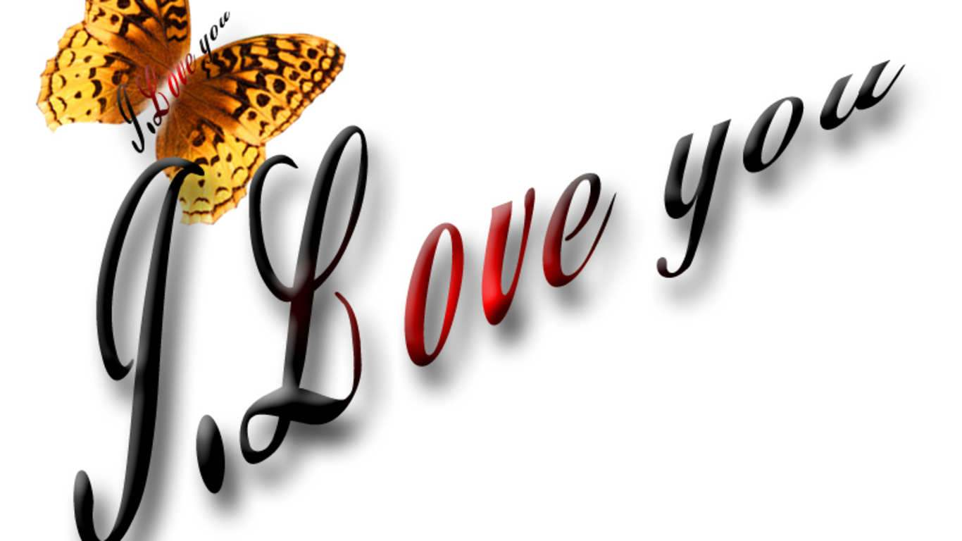 love you butterfly HD wallpaper 1366x768
