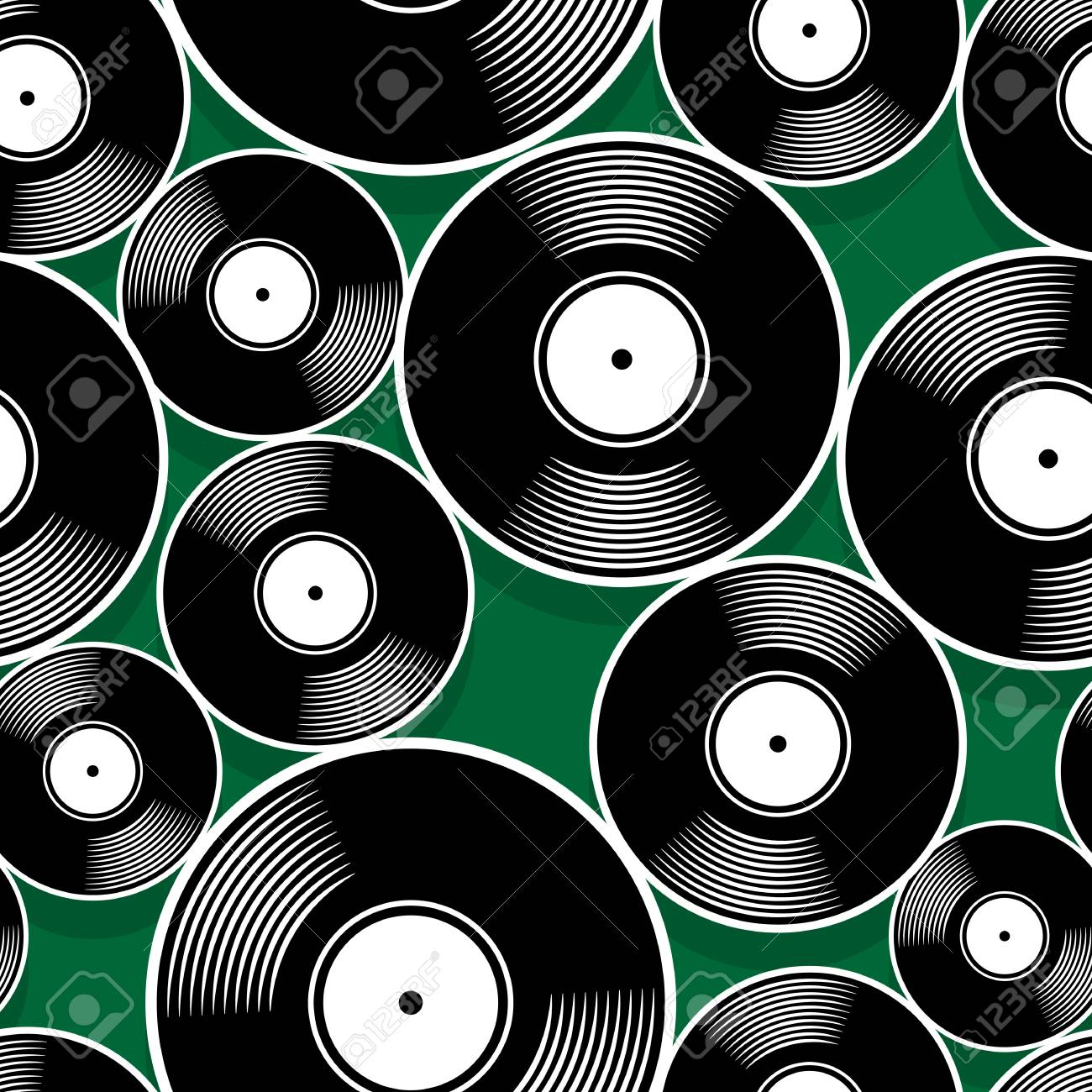 Retro Music Vintage Vinyl Record Icon Printable Seamless Pattern 1300x1300