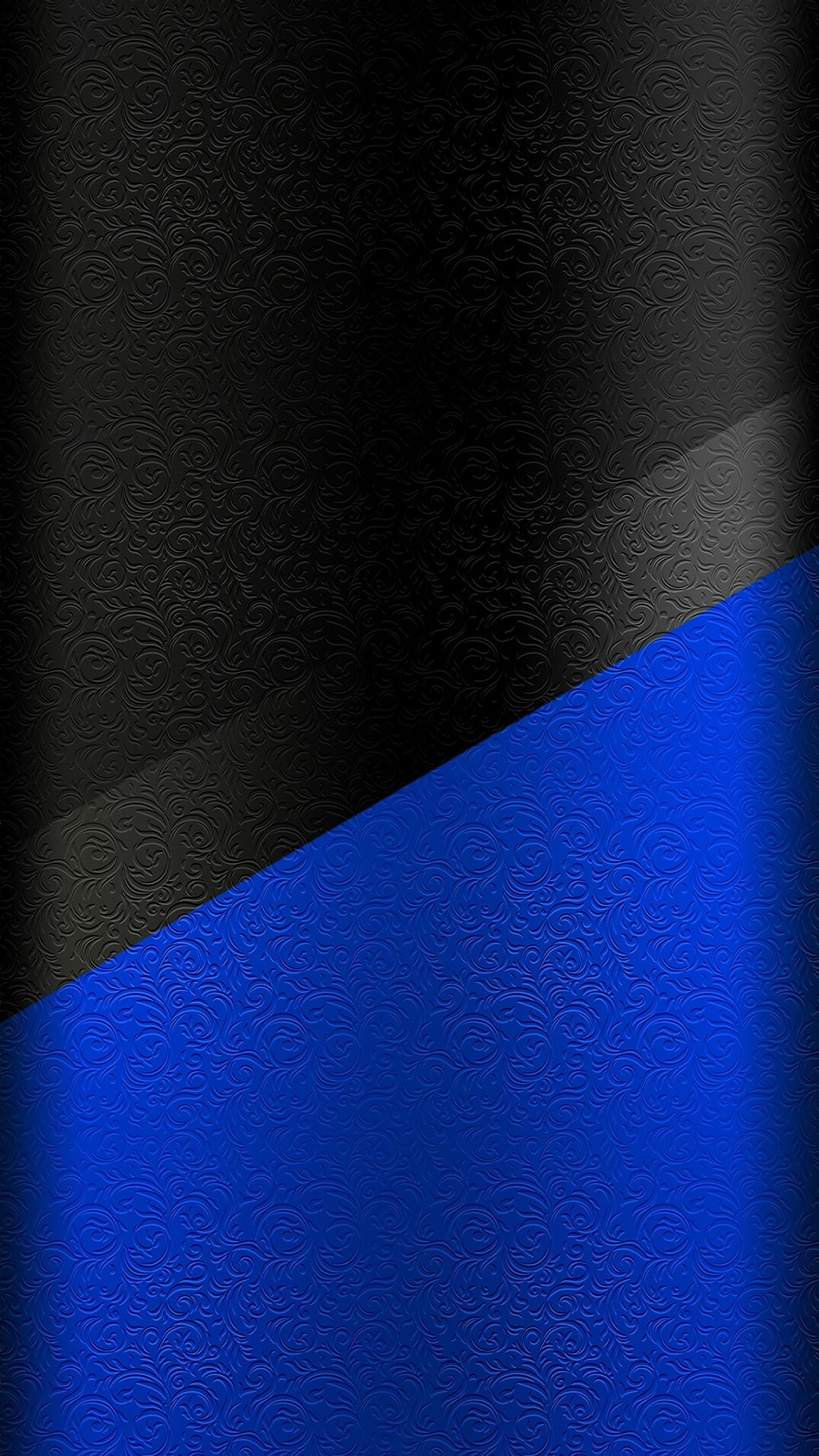 Dark S7 Edge Wallpaper 01   Black and Blue Floral Pattern Floral 1440x2560