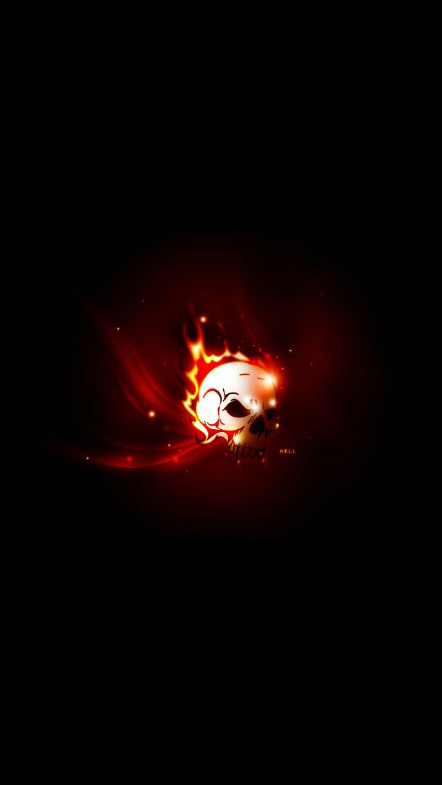 iPhone 5 wallpapers HD   Fire Skull designs Backgrounds 640x1136
