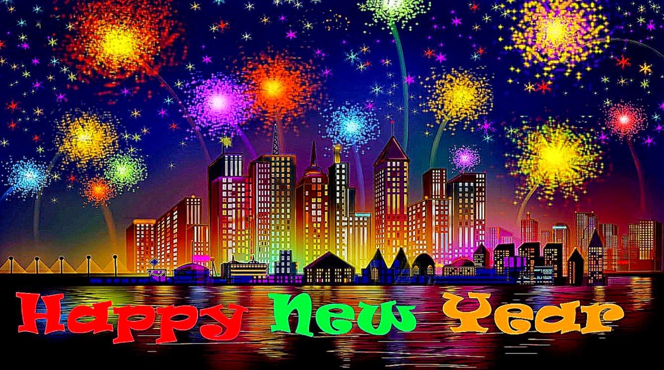 Happy New Year Fireworks Wallpaper Wallpapers Desktop Backgroud 1339x747