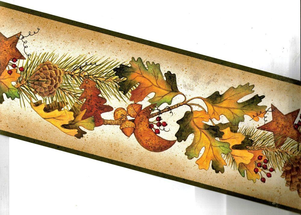 Autumn Leaves Pinecones Acorns Hearts Wallpaper Border TC48042B eBay 1000x715