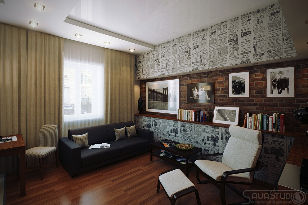 Retro poster wallpaper lounge feature wall OLPOS Design 993x662
