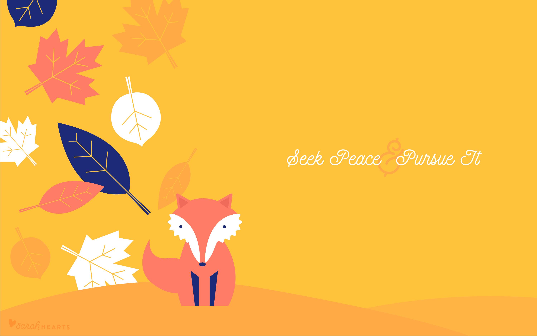 Fall Leaf and Fox October 2017 Calendar Wallpaper   Sarah Hearts 3001x1876