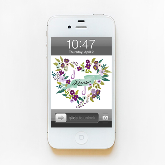 Floral Heart Monogram Phone Wallpaper   The Wedding Chicks 550x550