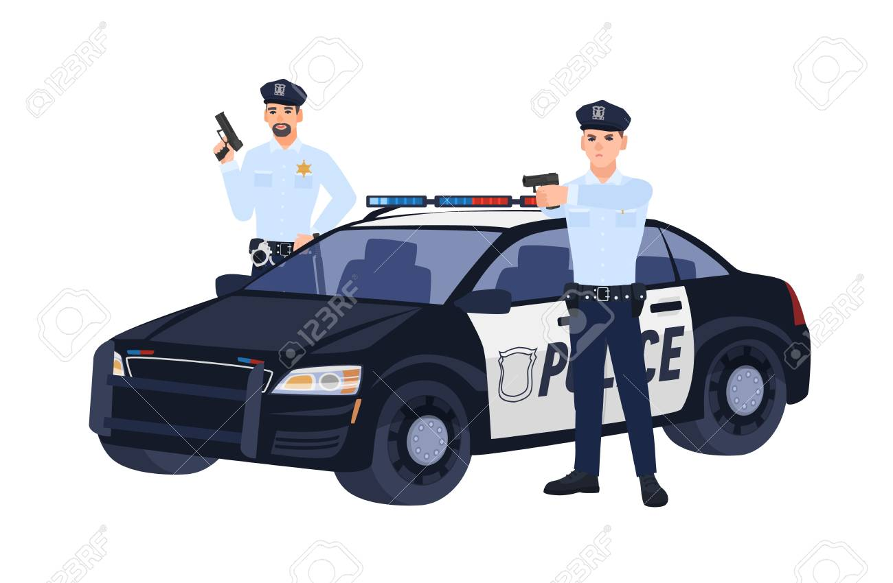 Two Policemen Or Cops In Uniform Standing Near Car Holding Guns 1300x850