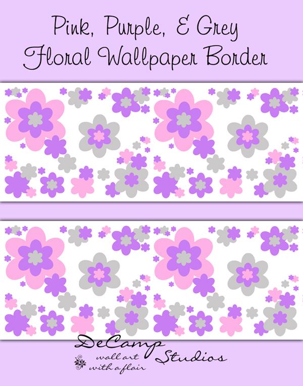 Pink Purple Grey Floral Wallpaper Border Girls Flower Room Decor [496 600x766