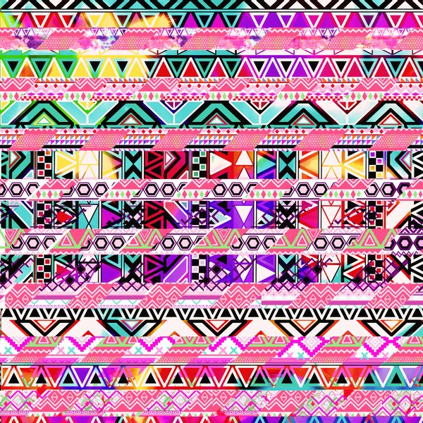 Neon Tribal Print Wallpaper Bright Abstract Aztec Pattern 600x600