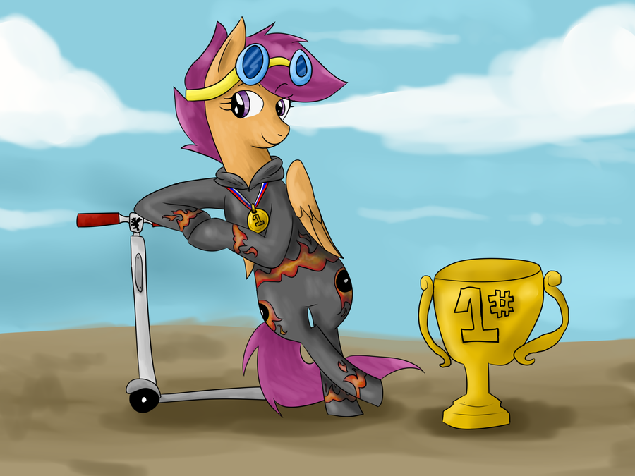 Scootaloo pro scooter champ by Opalwhisker 900x675