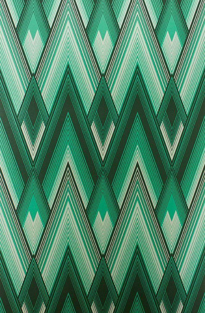 Astoria Wallpaper in Green Color by Osborne Little in 2019 Art 663x1013