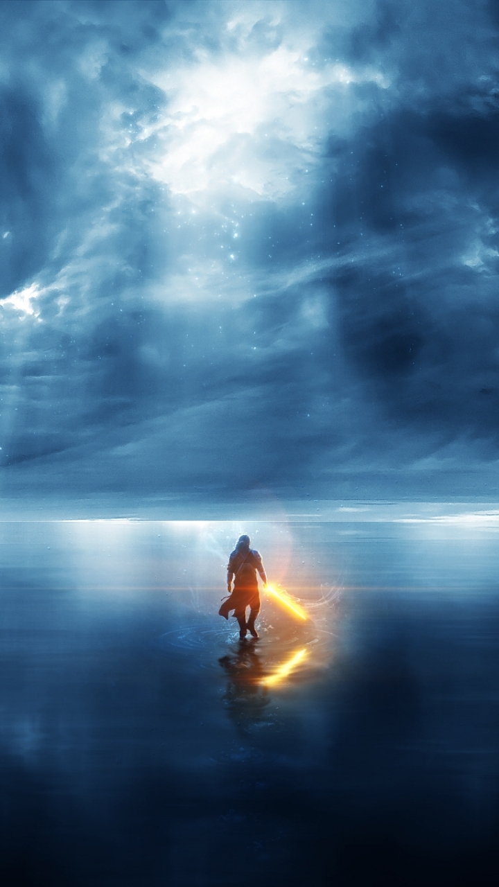 Enlightenment Fantasy Warrior Mobile Wallpaper   Light Warrior 720x1280