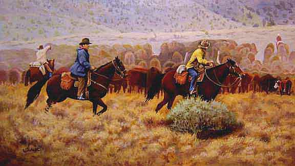 Crossing Behind the Herd A Western Cowboy Art Painting 576x324