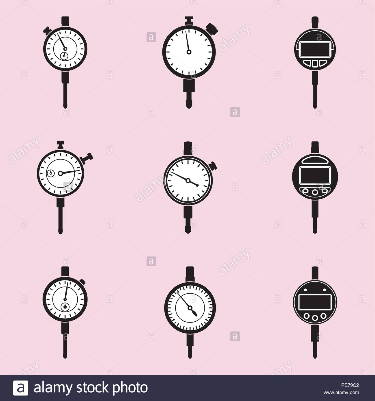 Machinist measuring tools Dial indicator icons on pink background 1300x1390