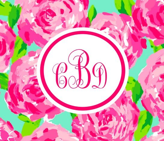 Get your Lilly Pulitzer inspired monogram iPhone wallpaper for 3 at 546x470
