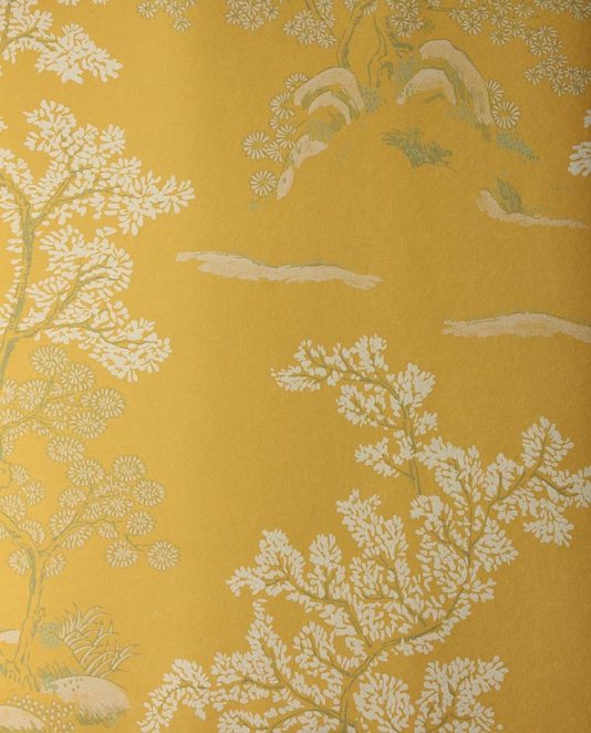 Oriental Tree Wallpaper Yellow wallpaper with white and green chinese 534x662