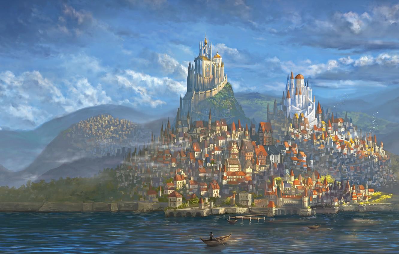 Wallpaper City World Fantasy Art Fantastic Castle Paint 1332x850