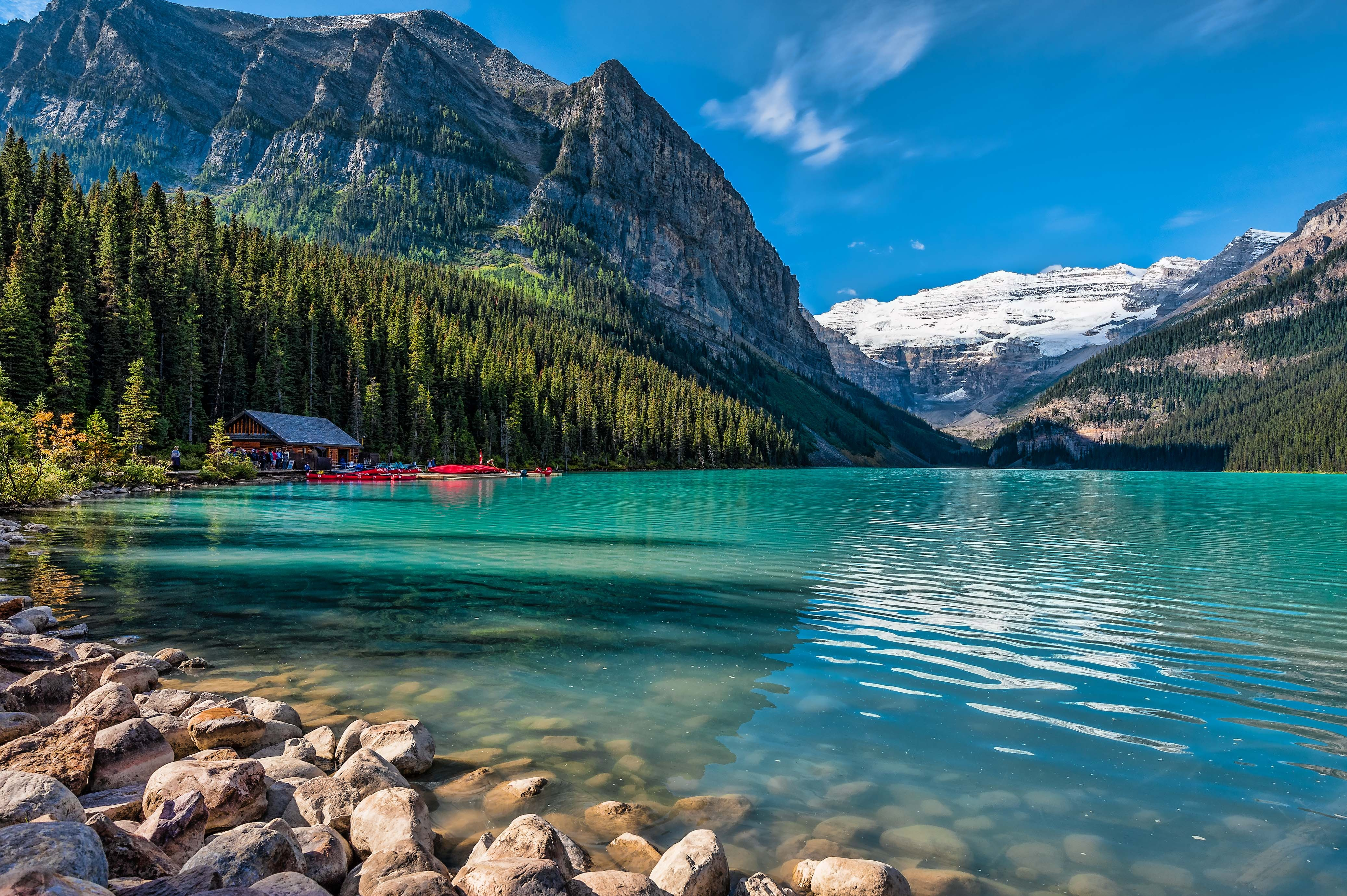 Wallpapers Alberta wate stones house Canada firs boats 4147x2759