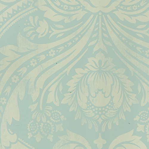 Allen Roth Teal Gold Damask Strippable Non woven Unpasted Feature 500x500