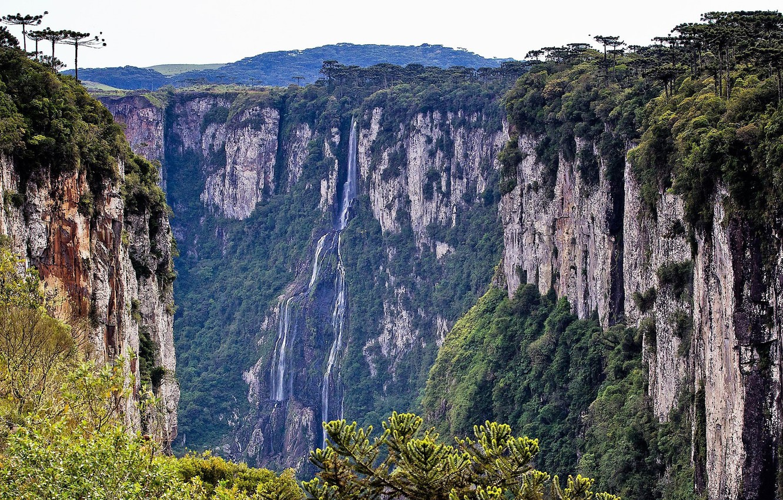 Wallpaper greens open height Mountains Waterfall Rocks 1332x850