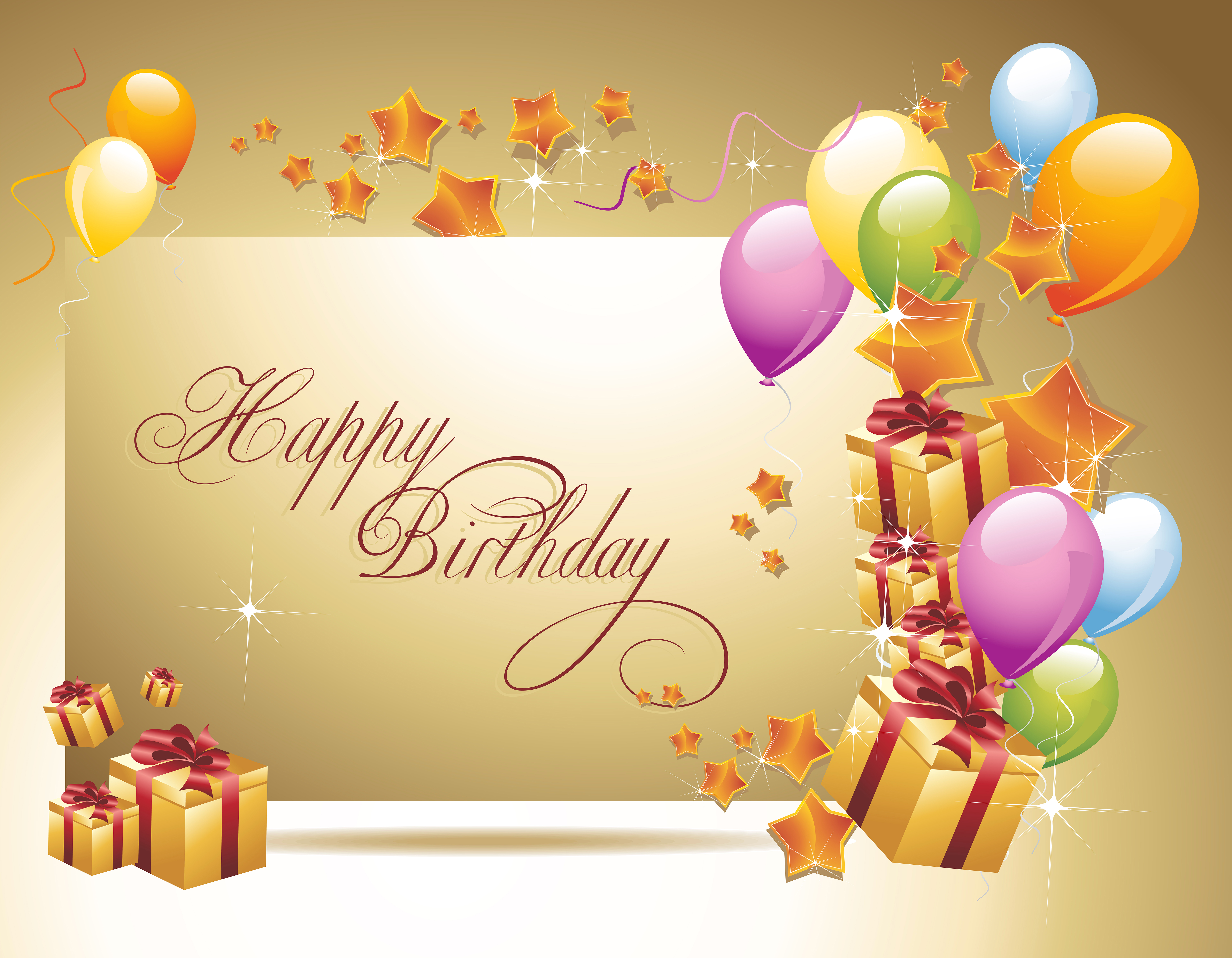 Happy Birthday Background with Gifts and Balloons Gallery 6000x4666